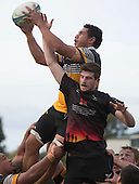 Maake Vaimohea claims lineout ball despite pressure from Zac Wootten. Counties Manukau Premier Club rugby game between Te Kauwhata and Onewhero, played at Te Kauwhata on Saturday April 16th 2016. Onewhero won the game 37 - 0 after leading 13 - 0 at Halftime. Photo by Richard Spranger.