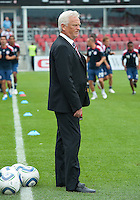 August 21 2010 New York Red Bulls head coach Hans Backe takes a look at the competion during a game between the New York Red Bulls and Toronto FC at BMO Field in Toronto..The New York Red Bulls won 4-1.