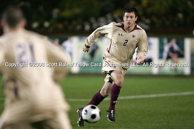 14 November 2008: Boston College's Paul Gerstenberger (2). The University of Maryland defeated Boston College 1-0 at WakeMed Stadium at WakeMed Soccer Park in Cary, NC in a men's ACC tournament semifinal game.