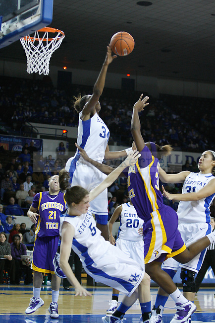 UK Senior forward, Victoria Dunlap blocks a shot in the game against Tennessee Tech at Memorial Coliseum on December 7, 2010. Photo by Ryan Buckler | Staff