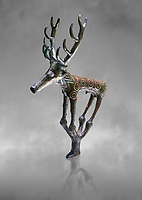 Bronze Age Hattian ceremonial deer statuette in bronze from a possible Bronze Age Royal grave (2500 BC to 2250 BC) - Alacahoyuk - Museum of Anatolian Civilisations, Ankara, Turkey