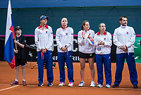 Bratislava, Slovenia, April 22, 2017,  FedCup: Slovakia-Netherlands,  Team presentation,  Slovakian team ltr: Daniela Hantuchova, Rebecca Sramkova, Jana Cepelova, Kristina Kuchova and captain Matej Liptak<br /> Photo: Tennisimages/Henk Koster