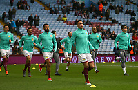 James Chester of Aston Villa leads the warm up before the match against Wolverhampton Wanderers.<br /> <br /> Photographer Leila Coker/CameraSport<br /> <br /> The EFL Sky Bet Championship - Aston Villa v Wolverhampton Wanderers - Saturday 10th March 2018 - Villa Park - Birmingham<br /> <br /> World Copyright &copy; 2018 CameraSport. All rights reserved. 43 Linden Ave. Countesthorpe. Leicester. England. LE8 5PG - Tel: +44 (0) 116 277 4147 - admin@camerasport.com - www.camerasport.com