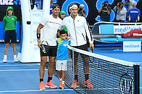 January 29, 2017: Roger Federer of Switzerland and Rafael Nadal of Spain pose for photographs prior to the Men's Final on day 14 of the 2017 Australian Open Grand Slam tennis tournament in Melbourne, Australia. Photo Sydney Low