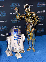 """LOS ANGELES, USA. December 17, 2019: R2D2 & C3PO at the world premiere of """"Star Wars: The Rise of Skywalker"""" at the El Capitan Theatre.<br /> Picture: Paul Smith/Featureflash"""