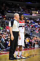 John Wall of the Wizards chats with the referee. Washington defeated Los Angeles 106-101 at the Verizon Center in Washington, D.C. on Wednesday, March 7, 2012. Alan P. Santos/DC Sports Box
