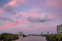 sunset skyline from BU Bridge, Boston, MA