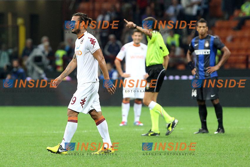 """Espulsione di Pablo Osvaldo Roma.Milano 02/09/2012 Stadio """"S.Siro"""".Football Calcio Serie A 2012/13.Inter v Roma.Foto Insidefoto Paolo Nucci."""