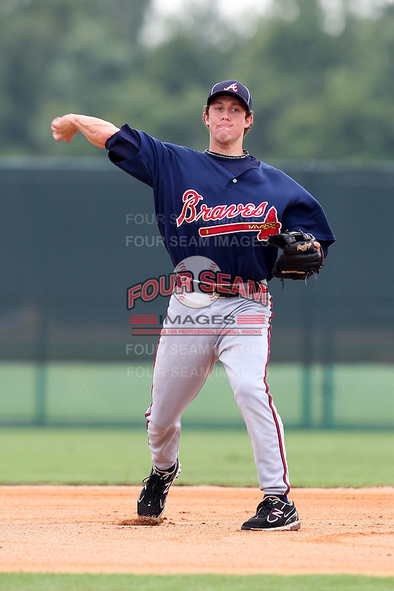 GCL Braves shortstop Logan Robbins #1 during a game against the GCL Pirates at Disney Wide World of Sports on June 25, 2011 in Kissimmee, Florida.  The Pirates defeated the Braves 5-4 in ten innings.  (Mike Janes/Four Seam Images)