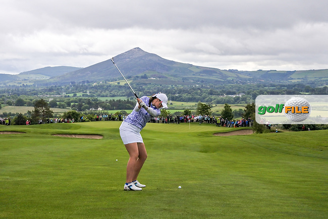 Olivia Mmhaffy on the 9th during Sunday Singles matches at the 2016 Curtis cup from Dun Laoghaire Golf Club, Ballyman Rd, Enniskerry, Co. Wicklow, Ireland. 12/06/2016.<br /> Picture Fran Caffrey / Golffile.ie<br /> <br /> All photo usage must carry mandatory copyright credit (&copy; Golffile | Fran Caffrey)