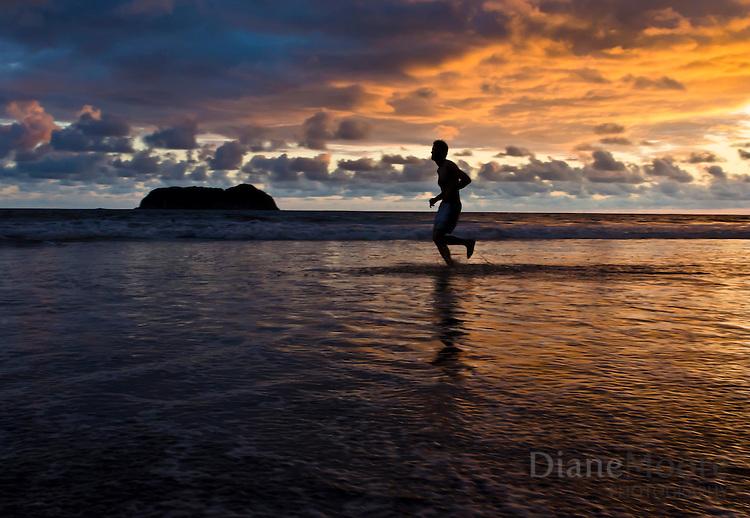 Man Beach Run Ocean Sunset
