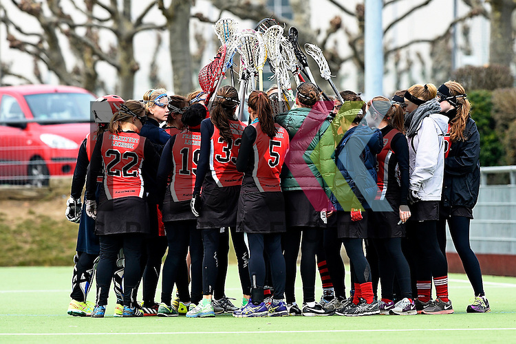 Frankfurt am Main, Germany, March 14: During the Damen 1. Bundesliga West Lacrosse match between SC 1880 Frankfurt and Duesseldorfer Hirschkuehe on March 14, 2015 at the SC 1880 Frankfurt in Frankfurt am Main, Germany. Final score 20-13 (13-8).<br /> <br /> Foto &copy; P-I-X.org *** Foto ist honorarpflichtig! *** Auf Anfrage in hoeherer Qualitaet/Aufloesung. Belegexemplar erbeten. Veroeffentlichung ausschliesslich fuer journalistisch-publizistische Zwecke. For editorial use only.