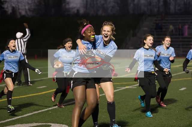 Mustang team members celebrate their 12-6 win over Dimond in their CIC Flag Football playoff game Thursday, Oct 13, 2016.  Photo for the Star by Michael Dinneen