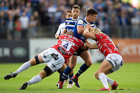 Freddie Burns of Bath Rugby takes on the Gloucester Rugby defence. Gallagher Premiership match, between Bath Rugby and Gloucester Rugby on September 8, 2018 at the Recreation Ground in Bath, England. Photo by: Patrick Khachfe / Onside Images