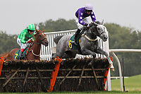 Its A Privilege ridden by Daryl Jacob in jumping action in the Norfolk Hospice Raceday Fakenham 26th October Juvenile Hurdle
