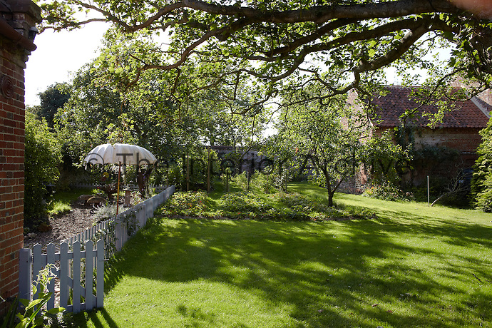 In the evening long shadows are cast by the large mature tree situated in the middle of the lawn