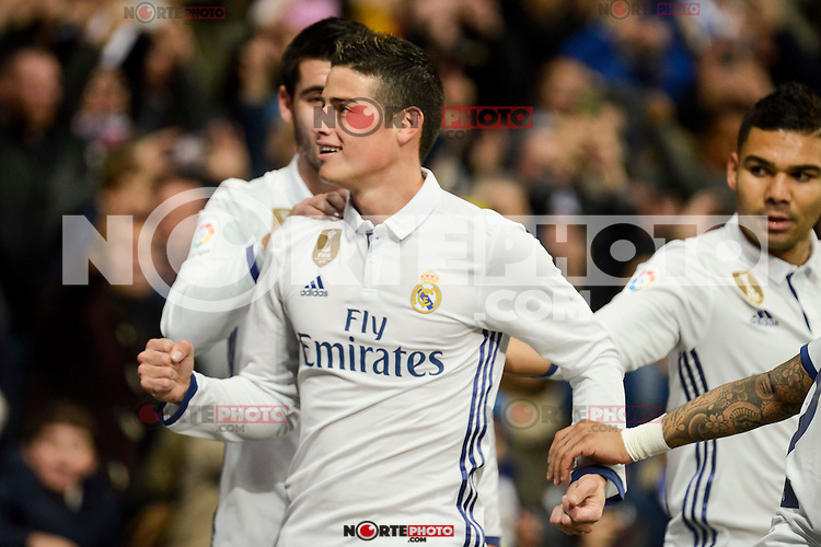 Real Madrid's James Rodriguez during Copa del Rey match between Real Madrid and Sevilla FC at Santiago Bernabeu Stadium in Madrid, Spain. January 04, 2017. (ALTERPHOTOS/BorjaB.Hojas) NortePhoto.com