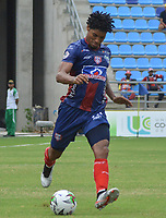 SANTA MARTA - COLOMBIA, 31-08-2019: Juan Carlos Pereira de Unión en acción durante el partido por la fecha 9 de la Liga Águila II 2019 entre Unión Magdalena y Cúcuta Deportivo jugado en el estadio Sierra Nevada de la ciudad de Santa Marta. / Juan Carlos Pereira of Union in action during match for the date 9 as part Aguila League II 2019 between Union Magdalena and Cucuta Deportivo played at Sierra Nevada stadium in Santa Marta city. Photo: VizzorImage / Gustavo Pacheco / Cont