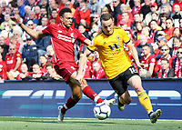 Wolverhampton Wanderers' Diogo Jota under pressure from Liverpool's Trent Alexander-Arnold<br /> <br /> Photographer Rich Linley/CameraSport<br /> <br /> The Premier League - Liverpool v Wolverhampton Wanderers - Sunday 12th May 2019 - Anfield - Liverpool<br /> <br /> World Copyright © 2019 CameraSport. All rights reserved. 43 Linden Ave. Countesthorpe. Leicester. England. LE8 5PG - Tel: +44 (0) 116 277 4147 - admin@camerasport.com - www.camerasport.com