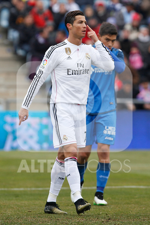 Real Madrid´s Cristiano Ronaldo during La Liga match at Coliseum Alfonso Perez stadium  in Getafe, Spain. January 18, 2015. (ALTERPHOTOS/Victor Blanco)