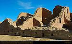 South Room Block Walls, Pueblo del Arroyo Chacoan Great House, Anasazi Hisatsinom Ancestral Pueblo Site, Chaco Culture National Historical Park, Chaco Canyon, Nageezi, New Mexico