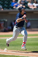 Nick Longhi (21) of the Salem Red Sox hustles down the first base line against the Winston-Salem Dash at BB&T Ballpark on April 17, 2016 in Winston-Salem, North Carolina.  The Red Sox defeated the Dash 3-1.  (Brian Westerholt/Four Seam Images)