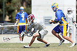Los Angeles, CA 04/11/09 -  Connor Pinkston (LMU #19) tries to scoop up a lose ball as Brandon Johnson (UCSB#22) keeps up the pressure during the UCSB-LMU played on Leavey Field at Loyola Marymount University.  With the playoffs at stake, UCSB defeated LMU 12-9 in a hard fought contest.