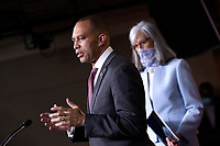 United States Representative Hakeem Jeffries (Democrat of New York), left, joined by United States Representative Katherine Clark (Democrat of Massachusetts), speaks during a news conference at the United States Capitol in Washington D.C., U.S., on Monday, June 29, 2020.  Credit: Stefani Reynolds / CNP /MediaPunch