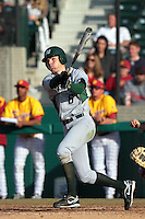 Jonathan Murphy (6) of the Jacksonville Dolphins bats against the USC Trojans at Dedeaux Field on February 19, 2012 in Los Angeles,California. USC defeated Jacksonville 4-3.(Larry Goren/Four Seam Images)