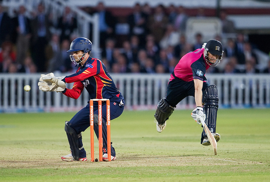 Essex Eagles' James Foster runs out Middlesex Panthers' Adam Voges in the t20 game at Lords<br /> <br />  (Photo by Ashley Western/CameraSport) <br /> County Cricket - Friends Life t20 2013 - Middlesex v Essex - Thursday 04th July 2013 - Lord's, London <br /> <br />  &copy; CameraSport - 43 Linden Ave. Countesthorpe. Leicester. England. LE8 5PG - Tel: +44 (0) 116 277 4147 - admin@camerasport.com - www.camerasport.com