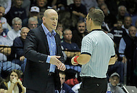 STATE COLLEGE, PA - JANUARY 25: Head coach Cael Sanderson of the Penn State Nittany Lions speaks with the referee during a match against the Minnesota Golden Gophers on January 25, 2015 at Recreation Hall on the campus of Penn State University in State College, Pennsylvania. Minnesota won 17-16. (Photo by Hunter Martin/Getty Images) *** Local Caption *** Cael Sanderson