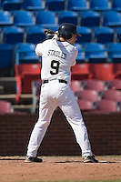Austin Stadler #9 of the Wake Forest Demon Deacons at bat versus the Virginia Cavaliers at Wake Forest Baseball Park March 8, 2009 in Winston-Salem, NC. (Photo by Brian Westerholt / Four Seam Images)