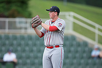 Greenville Drive starting pitcher Jay Groome (28) looks to his catcher for the sign against the Kannapolis Intimidators at Kannapolis Intimidators Stadium on August 7, 2017 in Kannapolis, North Carolina.  The Drive defeated the Intimidators 6-1.  (Brian Westerholt/Four Seam Images)