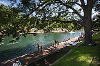 Barton Springs Swimming Pool - Zilker Park natural limestone spring pool - Stock Photo Image Gallery