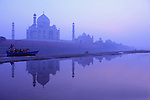 Taj Mahal seen from the banks of river Yamuna. Agra. India