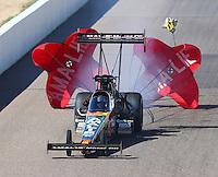 Feb 25, 2017; Chandler, AZ, USA; NHRA top fuel driver Terry McMillen during qualifying for the Arizona Nationals at Wild Horse Pass Motorsports Park. Mandatory Credit: Mark J. Rebilas-USA TODAY Sports