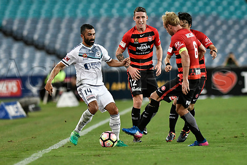April 8th 2017, ANZ Stadium, Sydney, Australia; A-League football, Western Sydney Wanderers versus Melbourne Victory; Victory forward Fahid Ben Khalfallah surrounded by Wanderers players; The match  ended in a 0-0 draw;