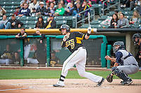 Jett Bandy (27) of the Salt Lake Bees at bat against the Colorado Springs Sky Sox in Pacific Coast League action at Smith's Ballpark on May 22, 2015 in Salt Lake City, Utah.  (Stephen Smith/Four Seam Images)