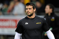 Ben Foden of Northampton Saints warms up before the LV= Cup second round match between Ospreys and Northampton Saints at Riverside Hardware Brewery Field, Bridgend (Photo by Rob Munro)