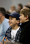 January 14, 2012:   Young Nevada Wolf Pack fans laugh during their game against the Hawai'i Rainbow Warriors during their NCAA basketball game played at Lawlor Events Center on Saturday night in Reno, Nevada.