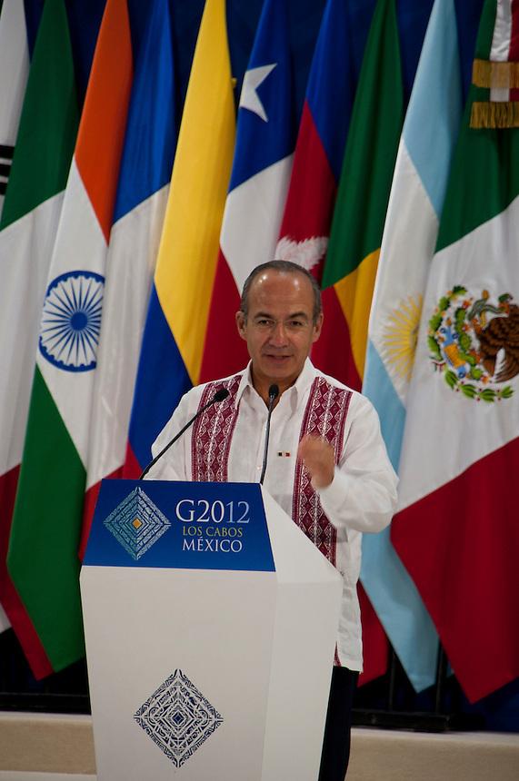 Mexican president Felipe Calderon inaugurates the G20 Convention Center, FREE, San Jose Los Cabos, Baja California Sur, Mexico.