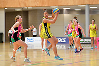 Central Manawa&rsquo;s Salate Taufa in action during the Beko Netball League - Central Manawa v Southern Blast at ASB Sports Centre, Wellington, New Zealand on Sunday 12 May 2019. <br /> Photo by Masanori Udagawa. <br /> www.photowellington.photoshelter.com
