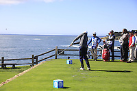 Bryson deChambeau (USA) tees off the par3 7th tee at Pebble Beach Golf Links during Saturday's Round 3 of the 2017 AT&amp;T Pebble Beach Pro-Am held over 3 courses, Pebble Beach, Spyglass Hill and Monterey Penninsula Country Club, Monterey, California, USA. 11th February 2017.<br /> Picture: Eoin Clarke | Golffile<br /> <br /> <br /> All photos usage must carry mandatory copyright credit (&copy; Golffile | Eoin Clarke)