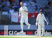 22nd March 2018, Eden Park, Auckland, New Zealand; International Test Cricket, New Zealand versus England, day 1;  Trent Boult celebrates the wicket of England captain Joe Root