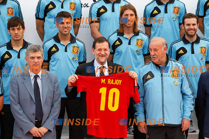 Spanish national football team  David Jimenez Silva, Cesc Fabregas, Sergio Ramos, Juan Mata, the President of Spanish Football Federation Angel Maria Villar, the Primer Minister of Spain Mariano Rajoy and the coach Vicente Del Bosque during official photo session in the Las Rozas's Football City .June 1,2012.(Insidefoto / ACero / Alterphotos )