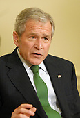 U.S. President George W. Bush speaks to the press after his meeting with Kai Eide, the Special Representative of the United Nations Secretary-General for Afghanistan, in the Oval Office of the White House in Washington on April 29, 2008.<br /> Credit: Alexis C. Glenn / Pool via CNP