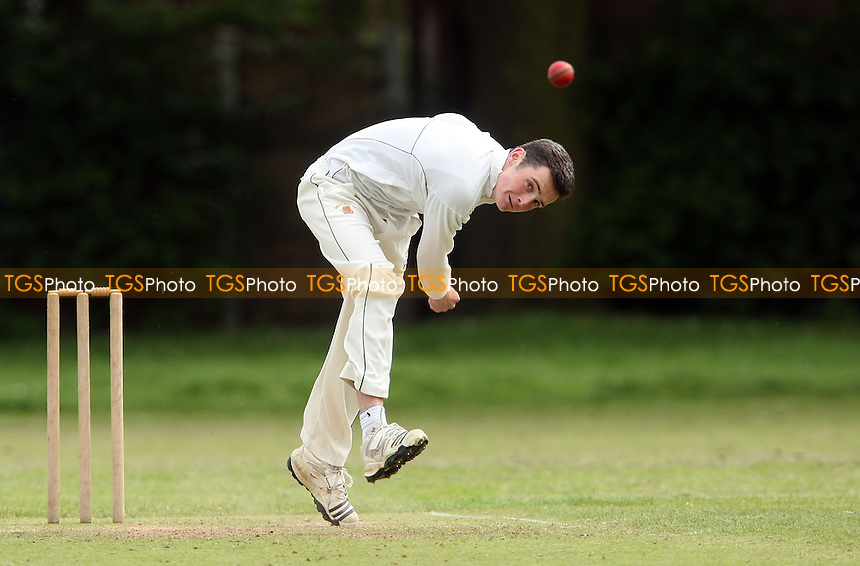 G Edwards of Galleywood in bowling action - Hornchurch Athletic CC vs Galleywood CC, Essex Club Cricket at Hylands Park, Hornchurch - 18/05/13 - MANDATORY CREDIT: Rob Newell/TGSPHOTO - Self billing applies where appropriate - 0845 094 6026 - contact@tgsphoto.co.uk - NO UNPAID USE.
