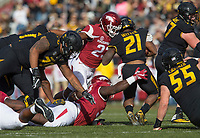 Hawgs Illustrated/BEN GOFF <br /> Dre Greenlaw (23), Arkansas linebacker, and T.J. Smith (52), Arkansas defensive end, tackle Ish Witter, Missouri running back, in the first quarter Friday, Nov. 24, 2017, at Reynolds Razorback Stadium in Fayetteville.