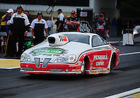 Jun. 1, 2012; Englishtown, NJ, USA: NHRA pro stock driver Mike Edwards during qualifying for the Supernationals at Raceway Park. Mandatory Credit: Mark J. Rebilas-