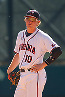 University of Virginia Cavaliers first baseman Pavin Smith (10) in the field during a game against the Liberty University Flames at Joseph P. Riley Ballpark on February 17, 2017 in Charleston, South Carolina. Virginia defeated Liberty 10-2. (Robert Gurganus/Four Seam Images)
